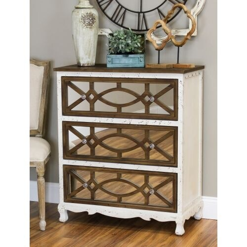 Aspire Home Accents 4318 Lara 31-1/2 Inch Wide 3 Drawer Wood Dresser with Mirrored Front