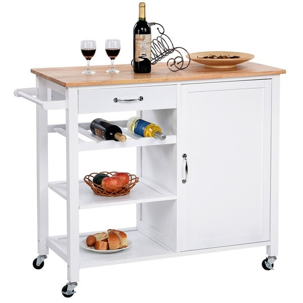 Gymax 4-Tier Wood Kitchen Trolley Cart Island Storage Cabinet Shelf Drawer W/Casters - as pic