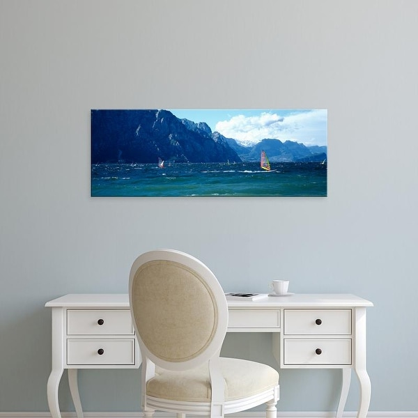 Easy Art Prints Panoramic Images's 'Windsurfing on a lake, Lake Garda, Italy' Premium Canvas Art