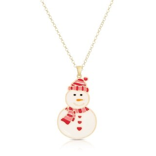 Lily Nily Girl's Smiling Snowman Pendant - Pink