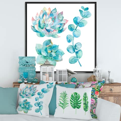 Designart 'Eucalyptus Leaves and Succulents' Traditional Framed Canvas Wall Art Print
