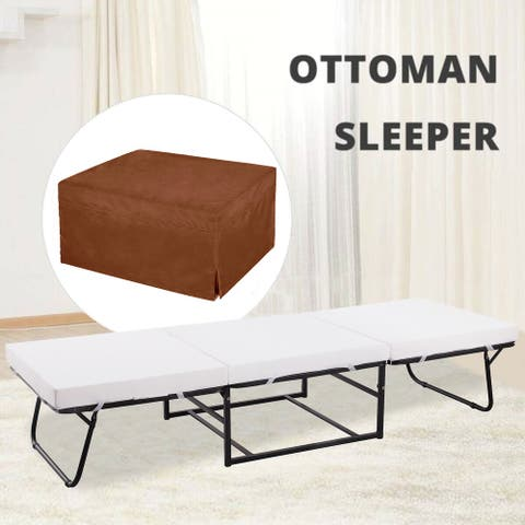 NOVA FURNITURE Folding Ottoman Sleeper Guest Bed, 4 in 1 Multi-Function Convertible Ottoman Bed