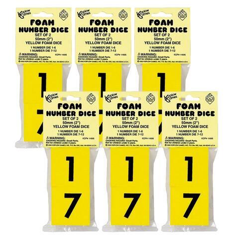 50mm Foam Dice, 1-6 & 7-12, 2 Per Set, 6 Sets