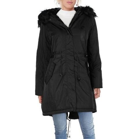 Jessica Simpson Women's Mid-Length Water Resistant Faux Fur Trim Parka Coat