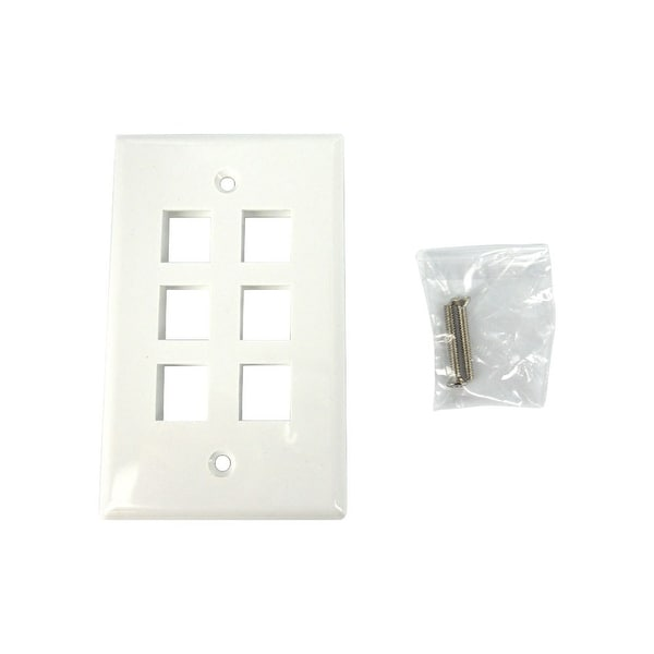 Sewell Wall Plate with 6 Keystone Ports, 1-Gang, White