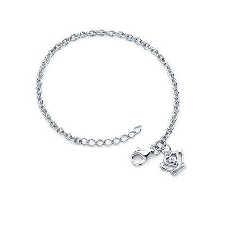 .925 Sterling Silver Diamond Accent Quincerana Crown Charm Bracelet for Girls (I Color, I1 Clarity)