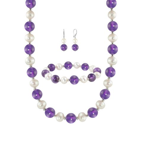 ColorStar 10-10.5mm Amethyst 8-8.5mm Freshwater Cultured Pearl Set