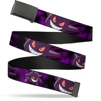 Blank Black  Buckle Gengar Action Poses Black Purples Webbing Web Belt