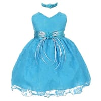 Little Girls Turquoise Lace Overlay Flower Sash Special Occasion Dress 2-4T