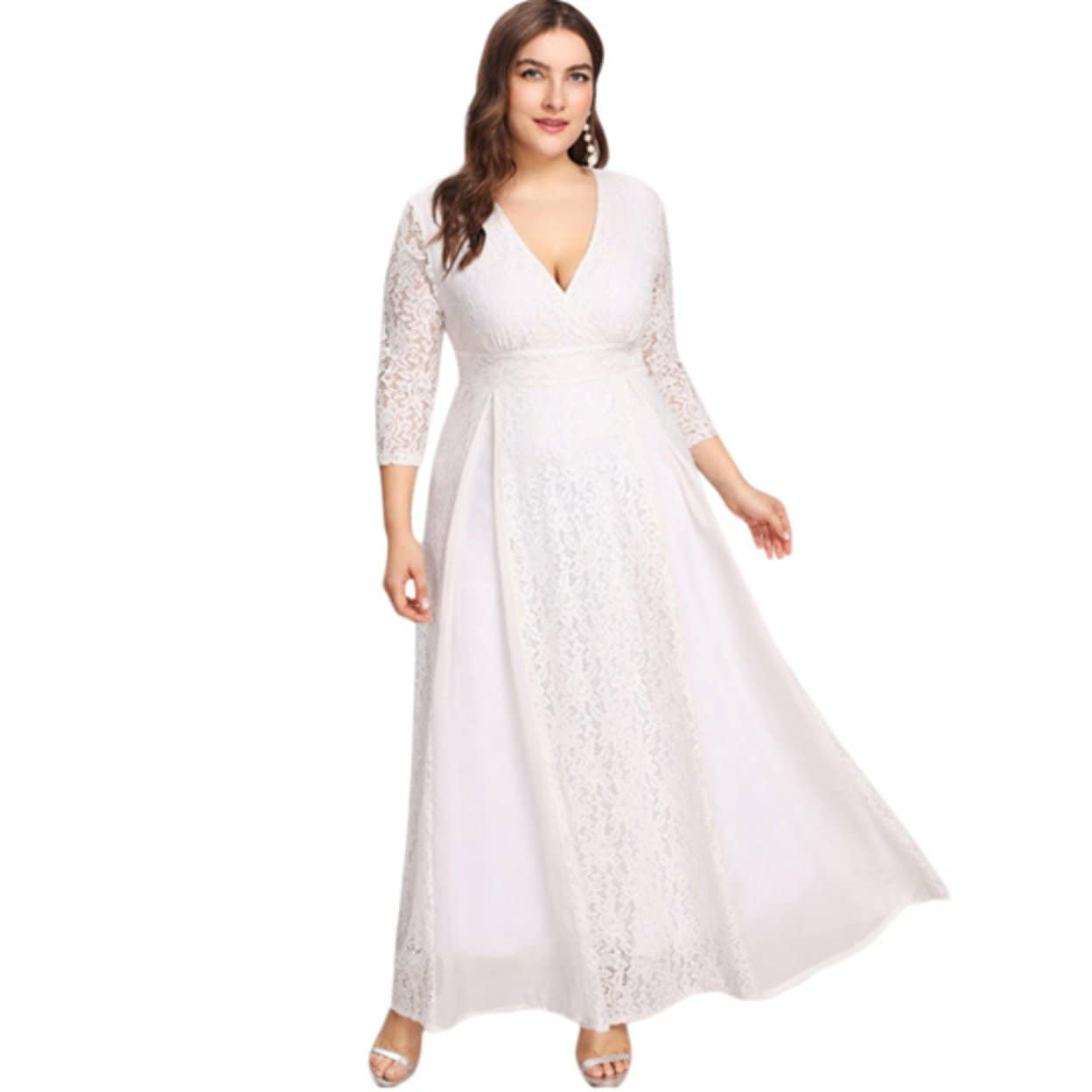 Women S Plus Size High Waist Lace Overlay Evening Maxi Dress