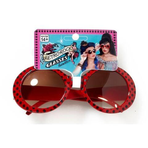 Retro Rock Red Polkadot Costume Sunglasses Adult