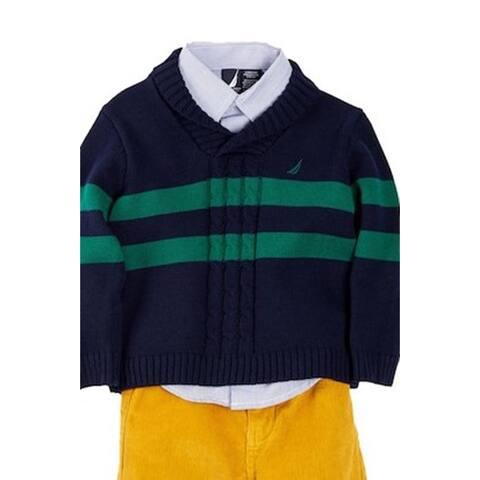 Nautica Baby Boy's Shawl Collar Stripe Sweater, Shirt, Navy, 18Months - 18 Months