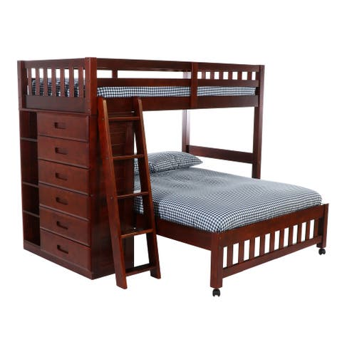 American Furniture Classics Model 2805, Solid Pine Twin Over Full Loft Bed with Six Drawers in Rich Merlot