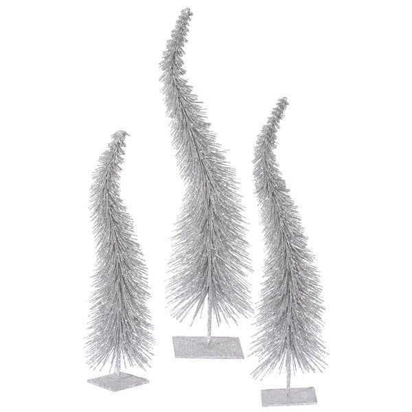 Set of 3 Silver Glitter Curved Artificial Table Top Christmas Trees - Unlit