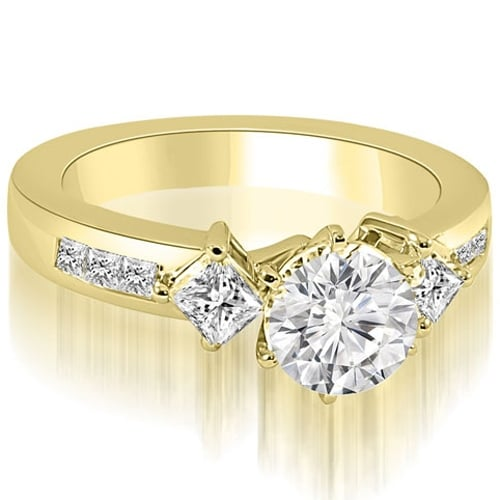 1.15 cttw. 14K Yellow Gold Round and Princess cut Diamond Engagement Ring