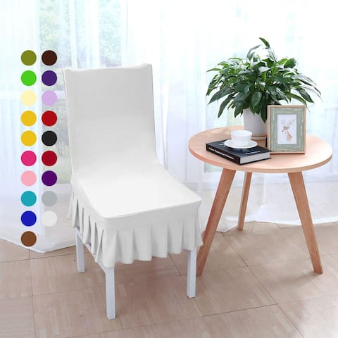 Stretchy Thicken Plush Short Dining Room Chair Covers Seat Protector Slipcover