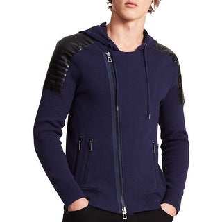 Calvin Klein Blue Mens Size Large L Hooded Full Zip Slim Sweater