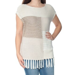 Womens Beige Color Block Short Sleeve Boat Neck Sweater Size S