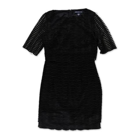 American Living Womens Popover Sheath Dress, black, 8