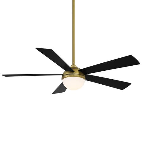 Eclipse Indoor and Outdoor 5-Blade Smart Compatible Ceiling Fan 54in with 3000K LED Light Kit and Remote Control
