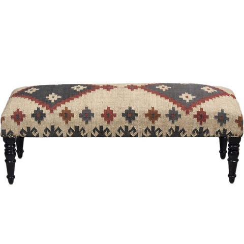 "Handmade Kilim Upholstered Wooden Bench (India) - 48"" L x 16"" W x 18"" H"