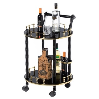 Link to Round Wood Serving Bar Cart Tea Trolley 2 Tier Shelves, Rolling Wheels Similar Items in Home Bars
