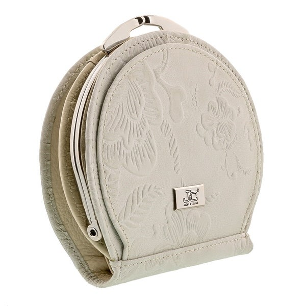 Jacky&Celine J25-002-023 Light Grey Leather Compact Purse - 4.5-4-1.5