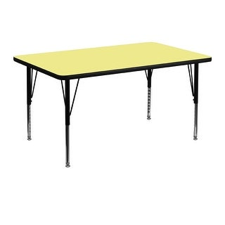 Offex 30''W x 48''L Rectangular Activity Table with Yellow Thermal Fused Laminate Top,Height Adjustable PreSchool Leg