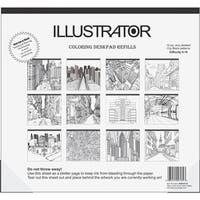 Illustrator Coloring Deskpad Refills, City Scape - Black & White