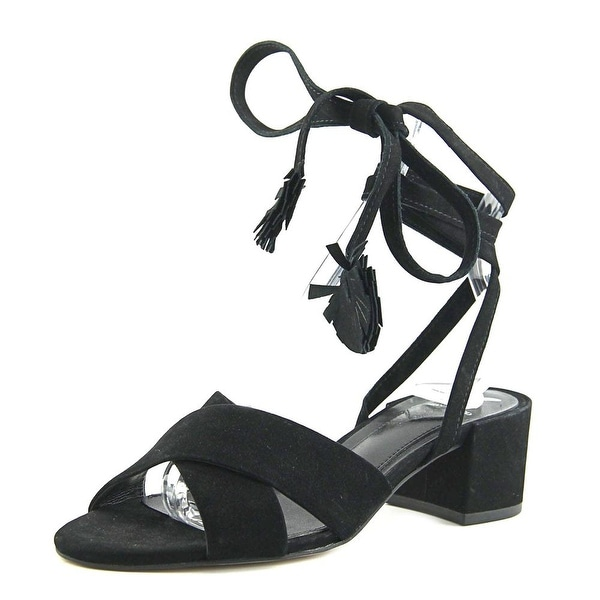 Brian Atwood Astor Women Open Toe Leather Black Sandals