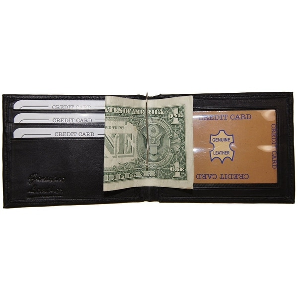 Improving Lifestyles Leather Mens Wallet Bifold Money Clip window ID Organza Bag - Black