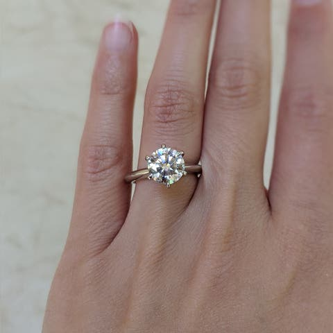 Silver 3 CT Round Moissanite Six Prong Solitaire Engagement Ring (Sizes 4.5 to 9)