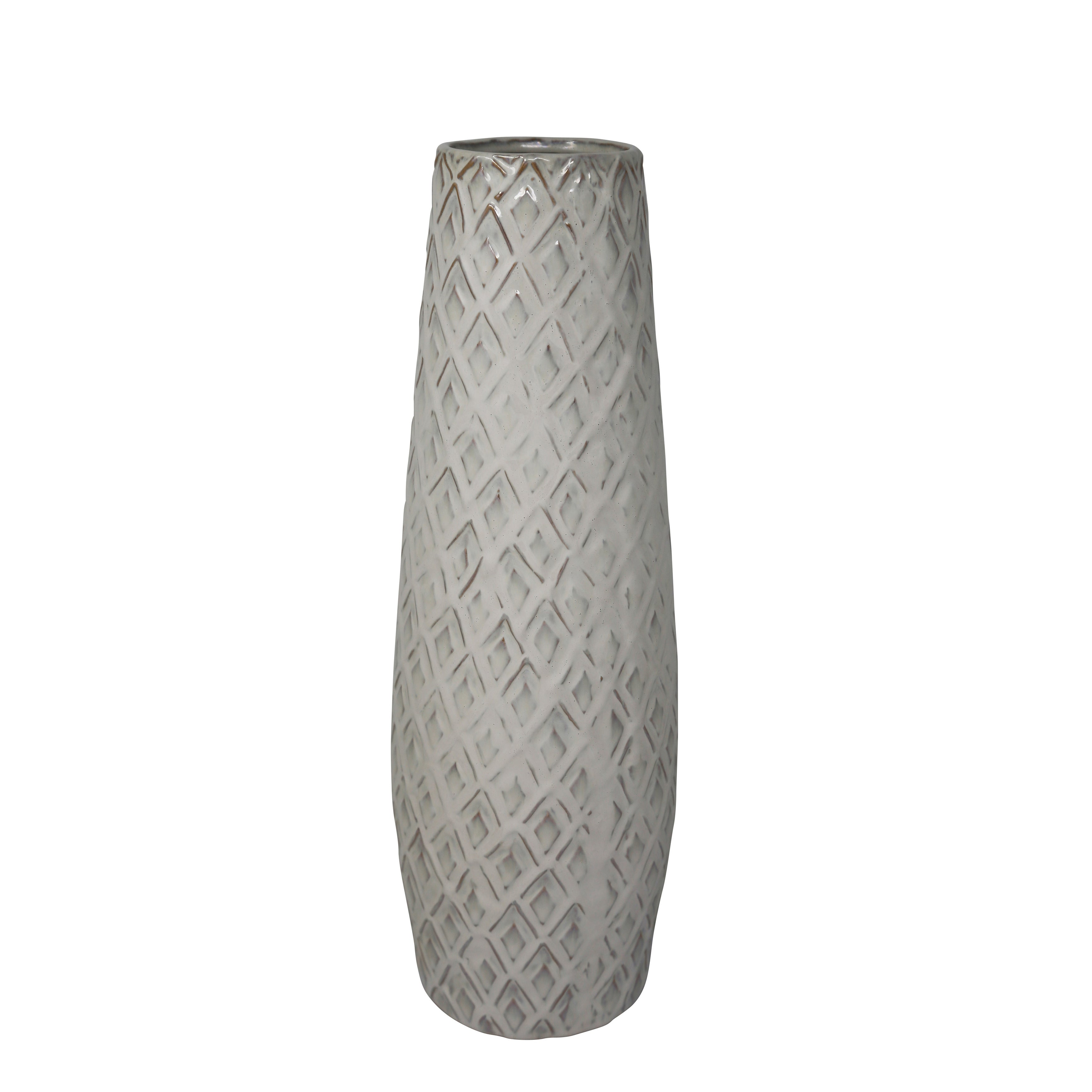 Ceramic Convex Table Vase with Embossed Diamond Design, White