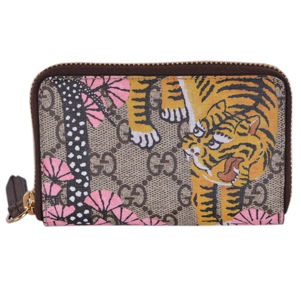 0a52f43281cce7 Gucci Women's 452357 GG Supreme Bengal Tiger Small Zip Around Wallet -