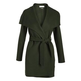 T Tahari Ella Chive Green Lightweight Wool Wrap Coat Jacket