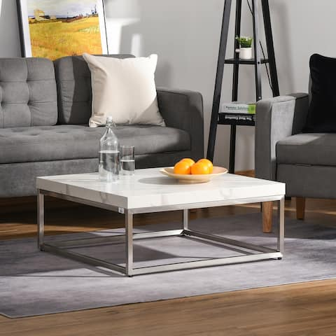 HOMCOM Square Coffee Table with Faux Marble Tabletop, Modern Sofa Side Table with Stainless Steel Frame for Living Room