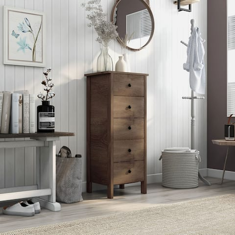 Carbon Loft Mulgrew Distressed Walnut 5-drawer Vertical Chest