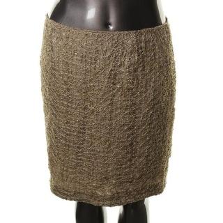 Jones New York Womens Riverside Drive Metallic Lace Lined Pencil Skirt - 16
