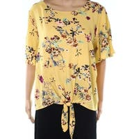 Socialite Yellow Womens Size Large L Floral-Print Tie-Hem Knit Top