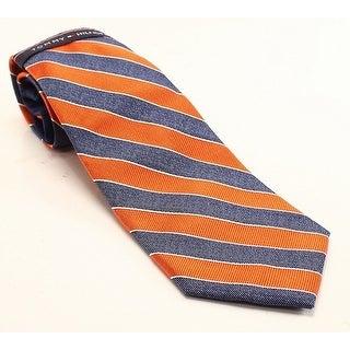 Tommy Hilfiger Orange Denim Bar Striped Men's Silk Blend Neck Tie