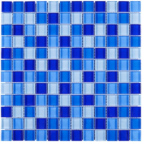 "TileGen. 1""x1"" Grid Glass Mosaic Tile in Mixed Blue Wall Tile (10 sheets/9.6sqft.)"