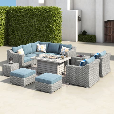 Corvus Martinka 12-pc. Outdoor Grey Wicker Fire Pit Sectional Sofa Set
