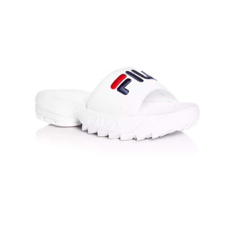 Fila Disruptor Bold Slides - White/Navy/Red - Womens - 10