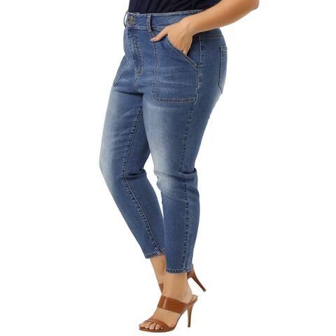 Plus Size Denim Jeans for Women Chambray Pants Mid Rise Skinny Jean - Blue