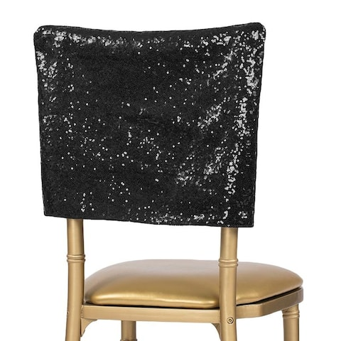 "1 Pk, Glitz Sequin Chiavari Chair Cap 16""W X 14""L - Black"