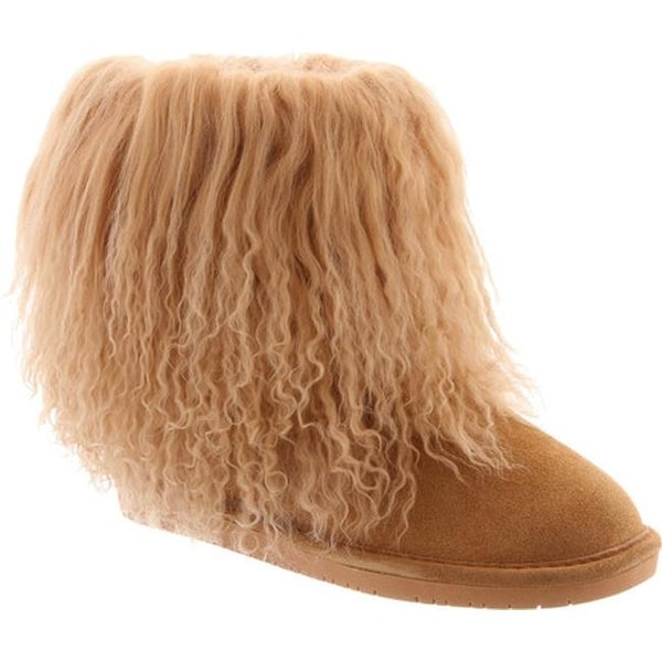2f5764b0981 Shop Bearpaw Women's Boo Solids Furry Boot Wheat Curly Lamb Hair/Cow ...