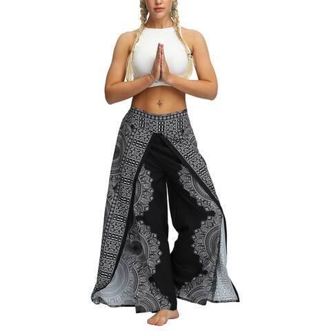 Ethnic Printed Yoga Pants Slit Wide Leg Boho Pants Casual Beach Pants