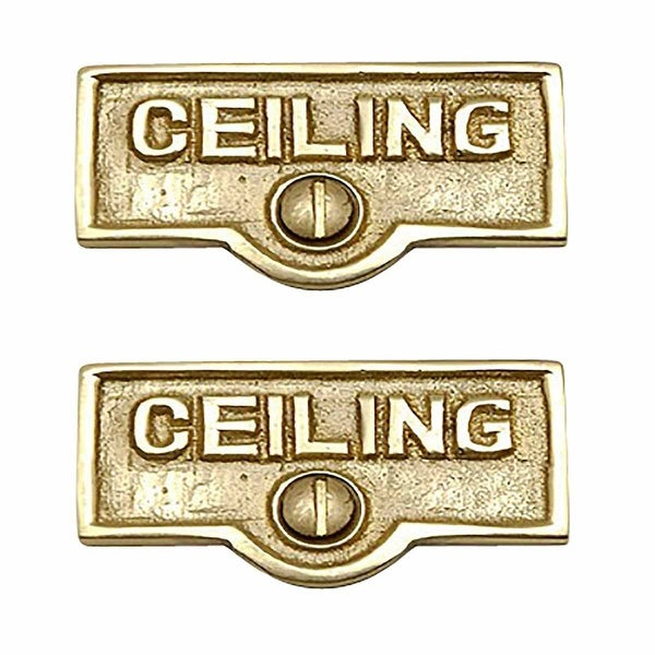 2 Switch Plate Tags CEILING Name Signs Labels Solid Brass | Renovator's Supply