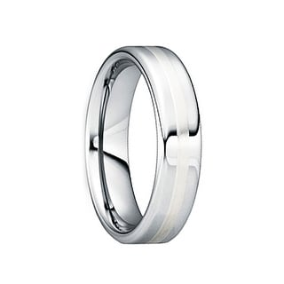 CAELINUS Tungsten Carbide Wedding Ring with 18K White Gold Inlay by Crown Ring