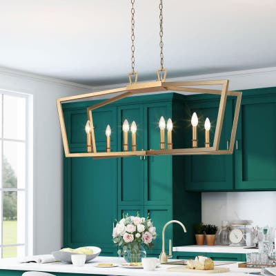 """Modern Contemporary 8-light Gold Kitchen Island Pendants Lights for Dining Room - L37""""xW13""""xH17"""""""